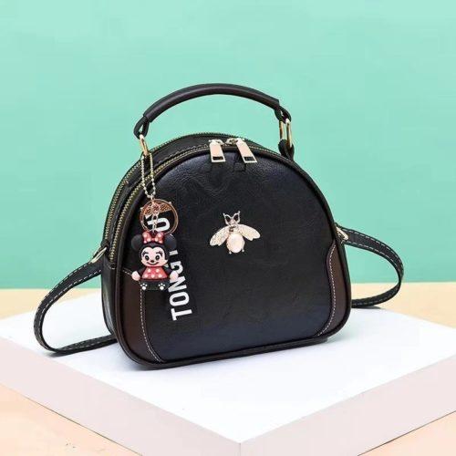 B0025-black Tas Selempang Cantik Gantungan Minnie Import