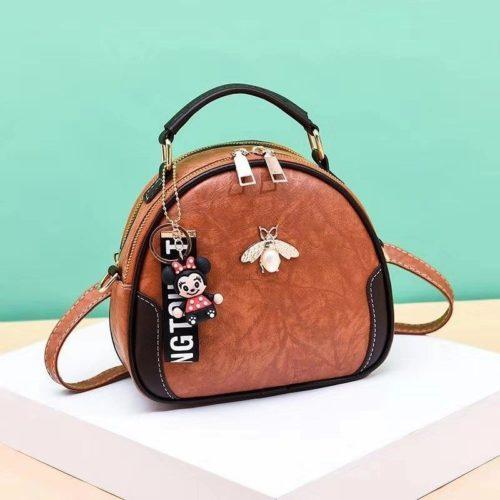 B0025-brown Tas Selempang Cantik Gantungan Minnie Import