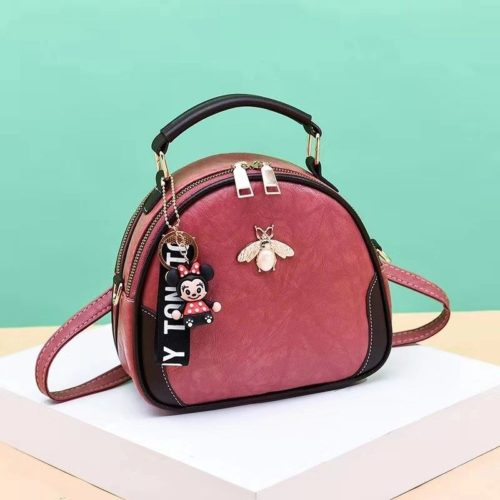 B0025-pink Tas Selempang Cantik Gantungan Minnie Import