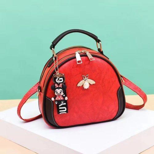 B0025-red Tas Selempang Cantik Gantungan Minnie Import