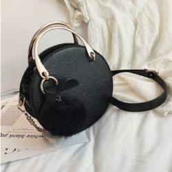 B00377-black Handbag Modis Kekinian Pom Pom