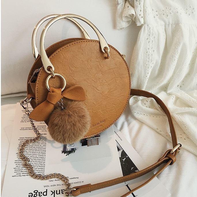 B00377-brown Handbag Modis Kekinian Pom Pom
