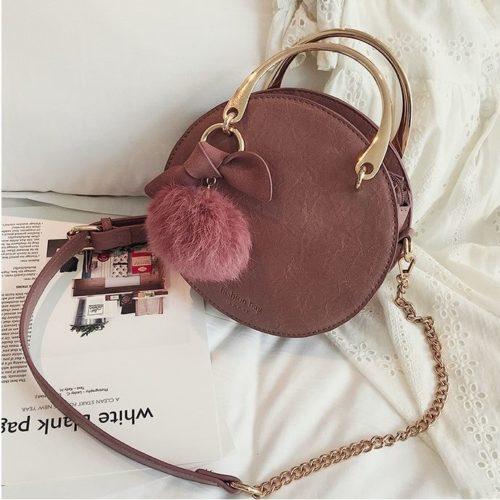 B00377-pink Handbag Modis Kekinian Pom Pom