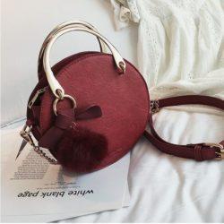 B00377-red Handbag Modis Kekinian Pom Pom