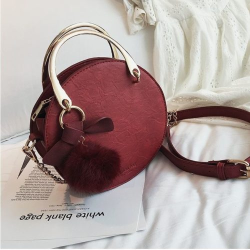 B00377-red Handbag Modis Kekinian Pom Pom