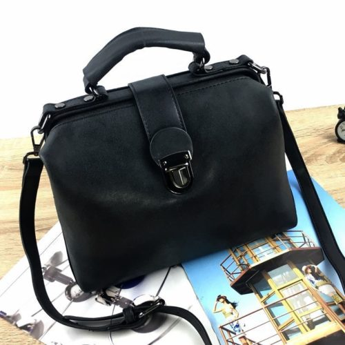 B010A-black Tas Doctor Bag Selempang Wanita Elegan Import