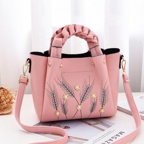 B01872-pink Tas Handbag Wanita Elegan Modis Kekinian