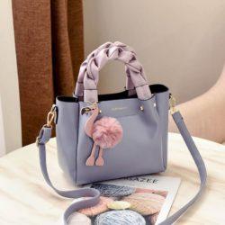 B0197-gray Tas Selempang Modis Gantungan Flamingo Terbaru