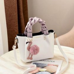B0197-white Tas Selempang Modis Gantungan Flamingo Terbaru