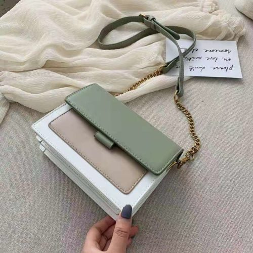 B02139-green Tas Selempang Minimalis Fashion Wanita Elegan