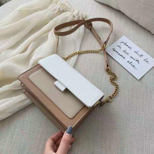 B02139-khaki Tas Selempang Minimalis Fashion Wanita Elegan