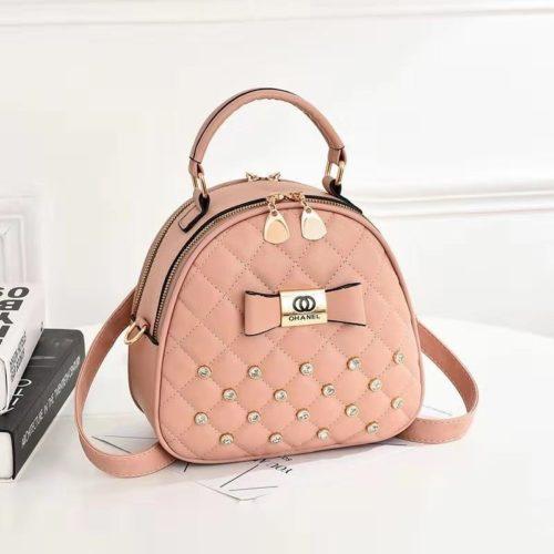 B0219-pink Tas Mini Ransel Cantik Bisa Selempang Terbaru