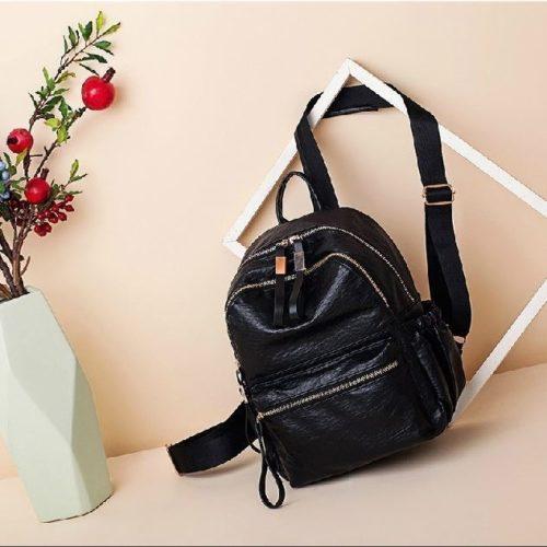 B0224-black Tas Ransel Wanita Stylish Cantik Import