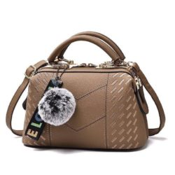 B0782-khaki Doctor Bag Pom Pom Wanita Elegan Import
