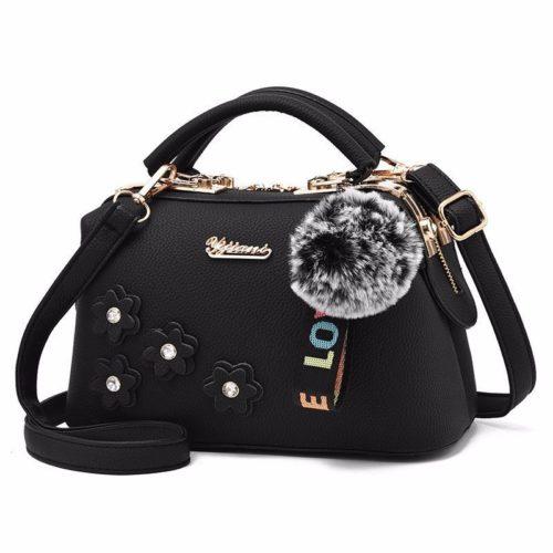B0786-black Doctor Bag Pom Pom Fashion Wanita