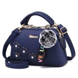 B0786-blue Doctor Bag Pom Pom Fashion Wanita
