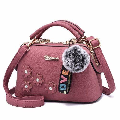 B0786-darkpink Doctor Bag Pom Pom Fashion Wanita