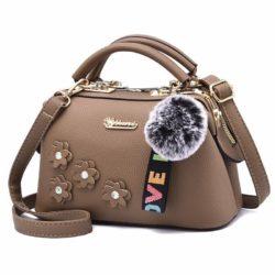 B0786-khaki Doctor Bag Pom Pom Fashion Wanita