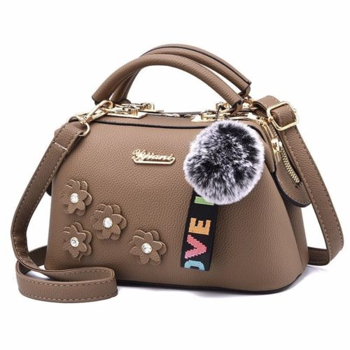 B0786-khaki Doctor Bag Pom Pom Fashion Wanita