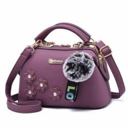 B0786-purple Doctor Bag Pom Pom Fashion Wanita