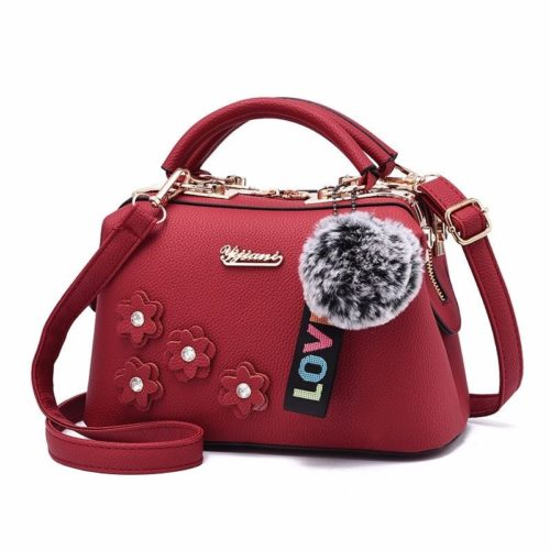 B0786-red Doctor Bag Pom Pom Fashion Wanita