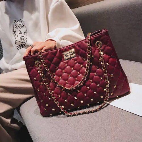 B08521-wine Tas Handbag Wanita Elegan Import Terbaru