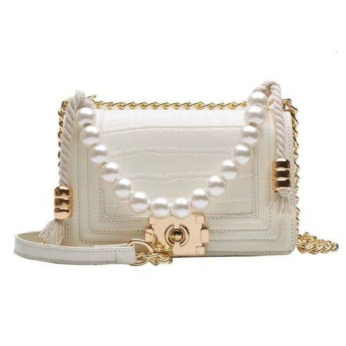 B10531-beige Tas Clutch Selempang Elegan Pearl Wanita