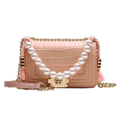 B10531-pink Tas Clutch Selempang Elegan Pearl Wanita
