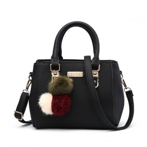 B1205-black Tas Selempang Pom Pom Cantik Handbag Modis Kekinian Pom Pom