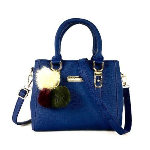 B1205-blue Tas Selempang Wanita Cantik Gantungan Pom Pom