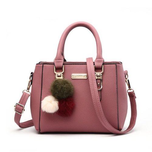B1205-darkpink Tas Selempang Pom Pom Cantik Handbag Modis Kekinian Pom Pom