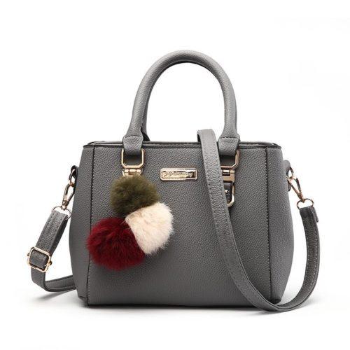 B1205-gray Tas Selempang Wanita Cantik Gantungan Pom Pom