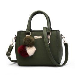 B1205-green Tas Selempang Pom Pom Cantik Handbag Modis Kekinian Pom Pom