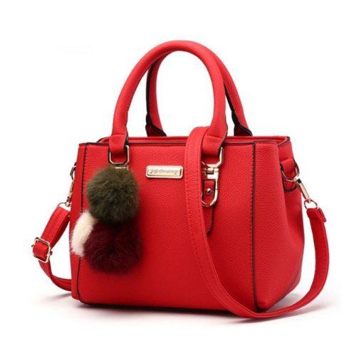 B1205-red Tas Selempang Wanita Cantik Gantungan Pom Pom