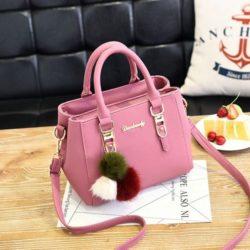 B1248-pink Tas Selempang Wanita Modis Gantungan Pom Pom Terbaru