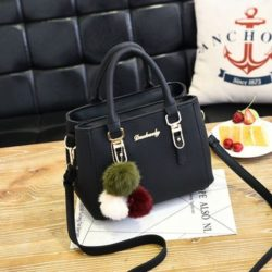 B1248-black Tas Handbag Gantungan Pom Pom Cantik Terbaru