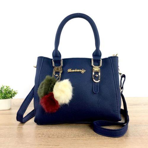 B1248-darkblue Tas Handbag Gantungan Pom Pom Cantik Terbaru