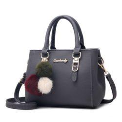 B1248-darkgray Tas Handbag Gantungan Pom Pom Cantik Terbaru
