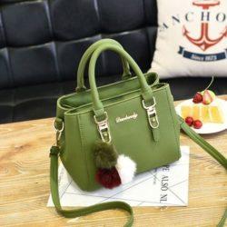 B1248-green Tas Handbag Gantungan Pom Pom Cantik Terbaru