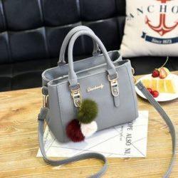 B1248-lightgray Tas Handbag Gantungan Pom Pom Cantik Terbaru