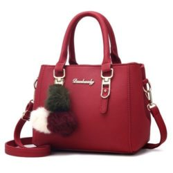 B1248-red Tas Handbag Gantungan Pom Pom Cantik Terbaru