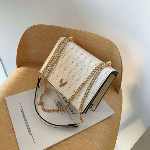 B125492-white Tas Clutch Selempang Tali Rantai Wanita