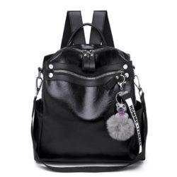 B134710-black Tas Ransel Pom Pom Import Wanita Terbaru