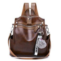 B134710-brown Tas Ransel Pom Pom Import Wanita Terbaru