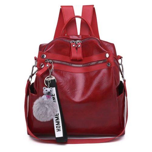B134710-red Tas Ransel Pom Pom Import Wanita Terbaru