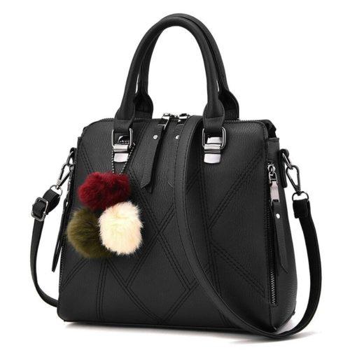 B1400-black Tas Handbag Selempang Pom Pom Import