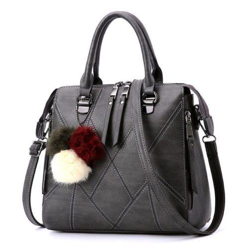 B1400-darkgray Tas Handbag Selempang Pom Pom Import
