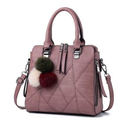 B1400-darkpink Tas Handbag Selempang Pom Pom Import