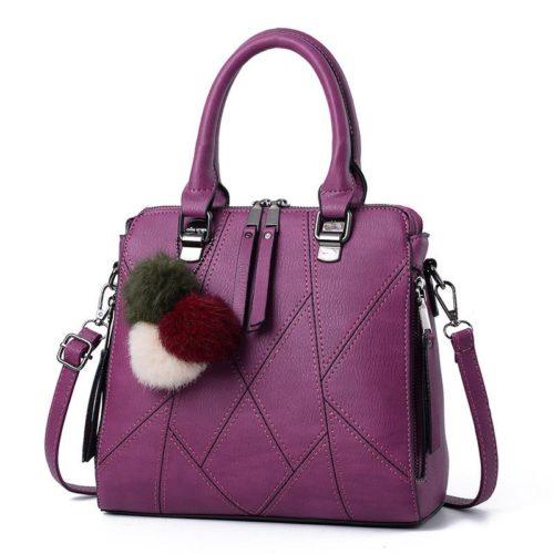 B1400-darkpurple Tas Handbag Selempang Pom Pom Import