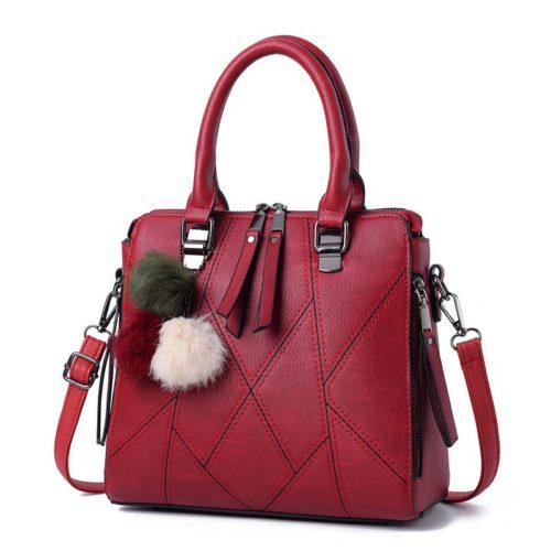 B1400-wine Tas Handbag Selempang Pom Pom Import